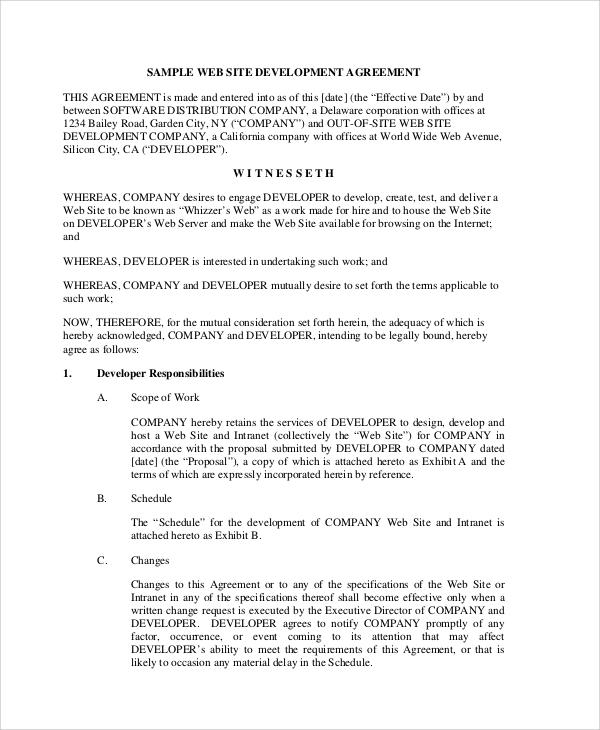 8+ Website Development Agreement Samples Sample Templates