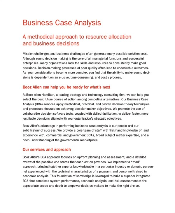 6+ Business Case Analysis Samples Sample Templates