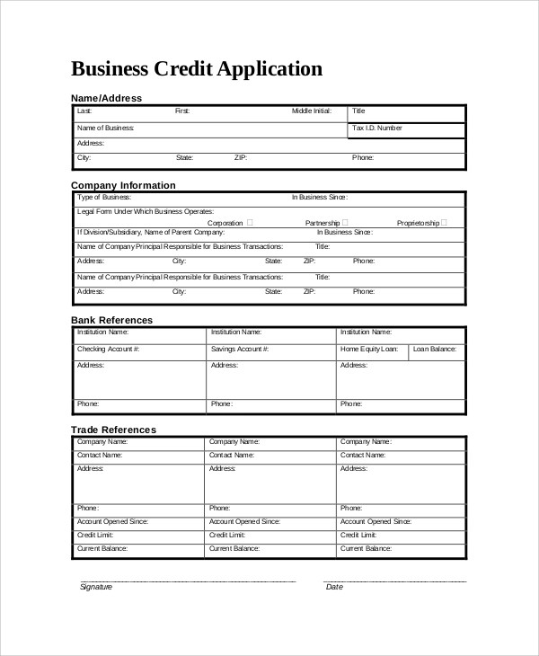 9+ Sample Credit Application Forms Sample Templates - credit application
