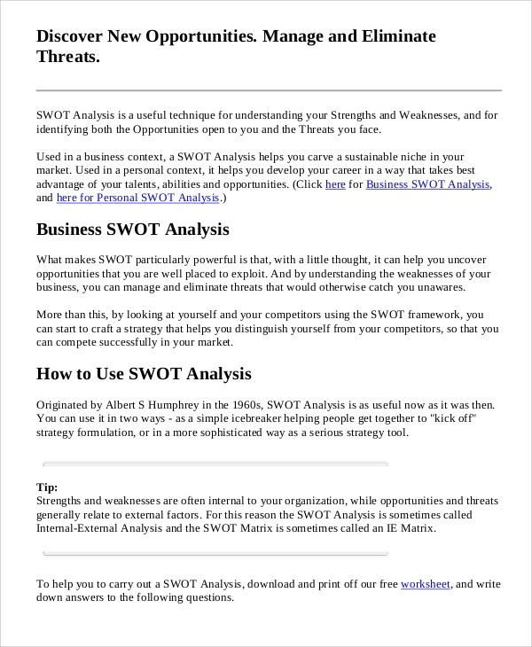 6+ Business Swot Analysis Samples Sample Templates - business swot analysis