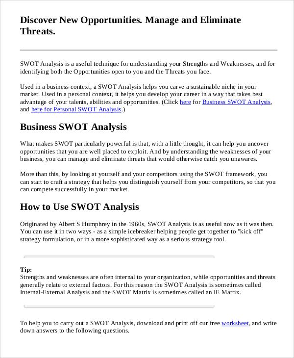 swot analysis sample pdf