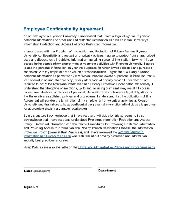 8+ Sample Employee Confidentiality Agreements Sample Templates