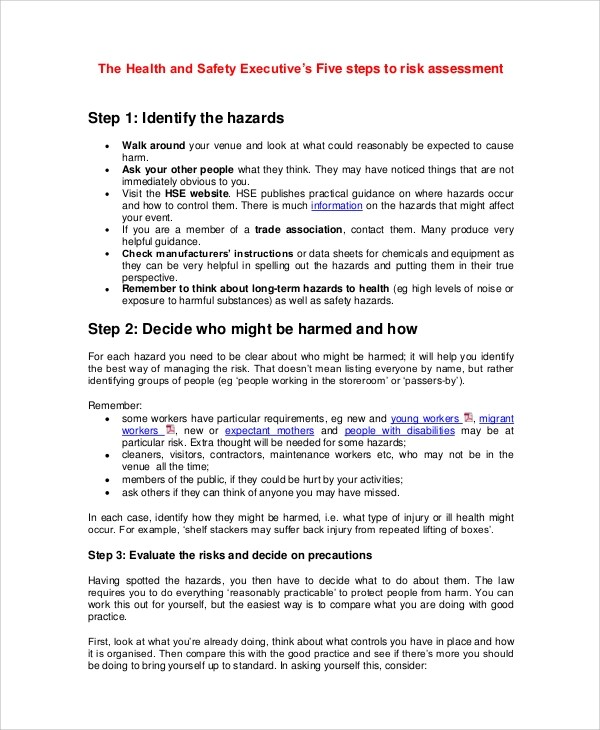 6+ Health Risk Assessment Samples \u2013 PDF, DOC Sample Templates - health safety risk assessment