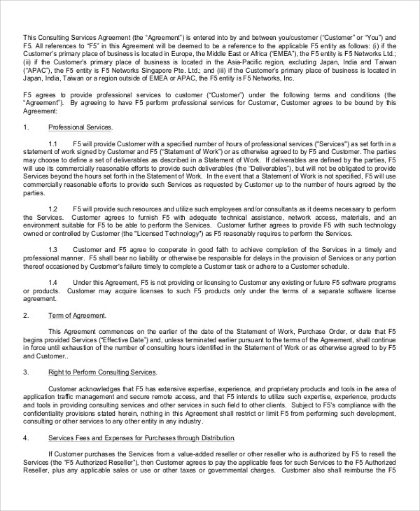 6+ Sample Consulting Services Agreements - Word, PDF