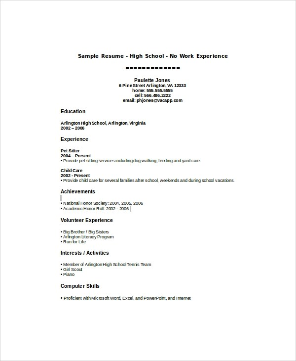 Resume Examples For Students With No Work Experience \u2013 resume