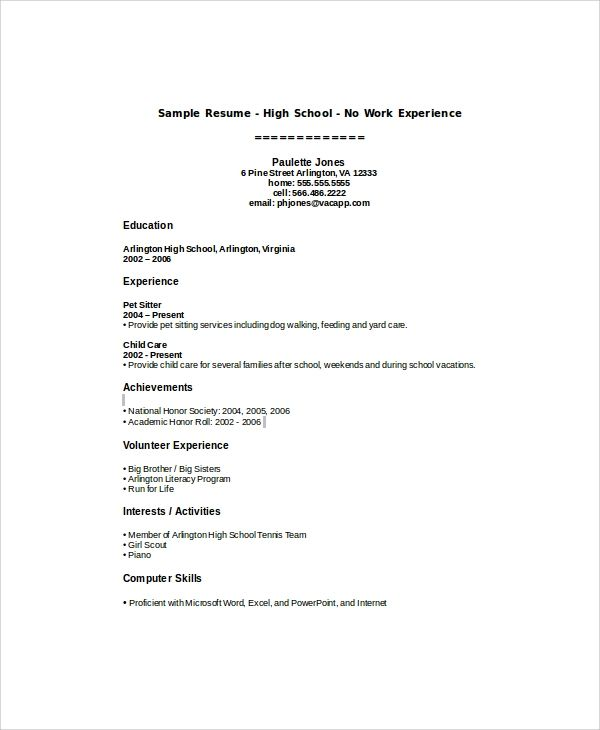sample resume for highschool students with little work experience