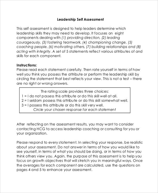 8+ Leadership Self Assessment Samples Sample Templates - sample self assessment