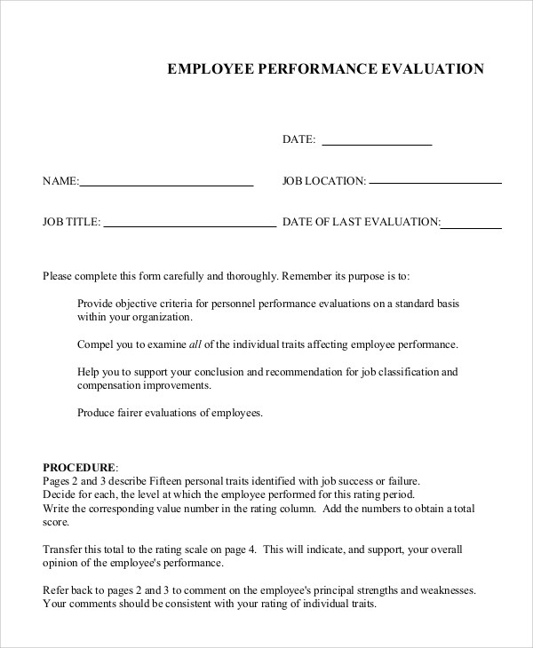 Sample Job Performance Evaluation - 6+ Documents in PDF, WORD