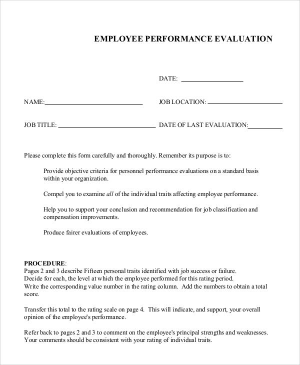 7+ Sample Job Performance Evaluations Sample Templates