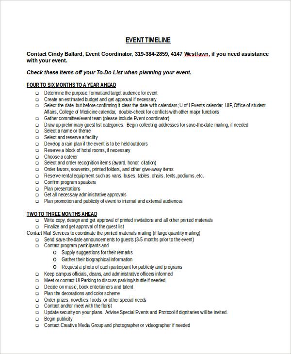 Sample Event Timeline - 7+ Documents in PDF, WORD - event timeline sample