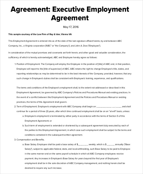 7+ Sample Executive Employment Agreements Sample Templates - sample executive agreement