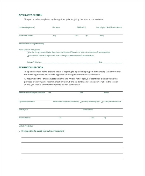 7+ Sample College Recommendation Letters Sample Templates