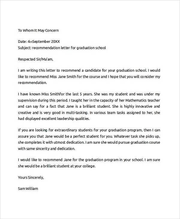Sample College Recommendation Letter - 6+ Documents in PDF, Word - recommendation letter format