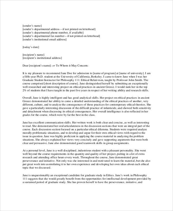 Sample College Recommendation Letter - 6+ Documents in PDF, Word