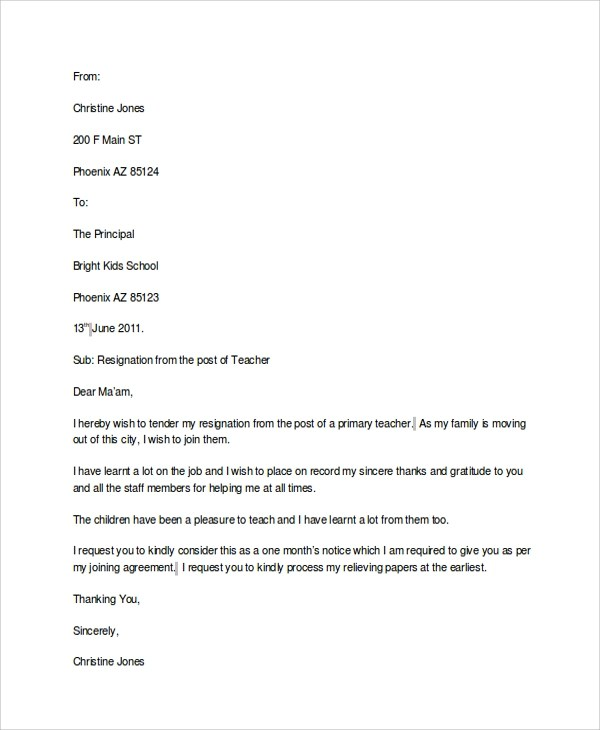 Resignation Letter Format One Day Notice  Resume Maker Create