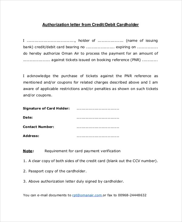 8+ Sample Credit Card Authorization Letters Sample Templates - letter authorizing