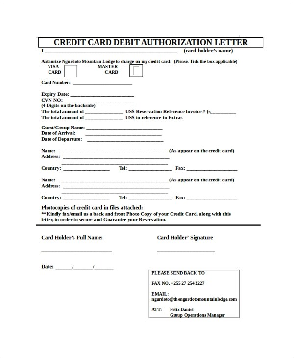 8+ Sample Credit Card Authorization Letters Sample Templates - authorization to use credit card