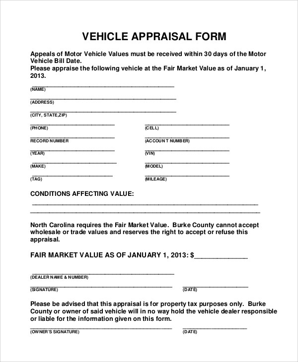 8+ Sample Vehicle Appraisal Forms Sample Templates