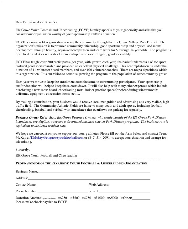 Sample Sports Sponsorship Letter - 6+ Documents in PDF - requisition letter sample