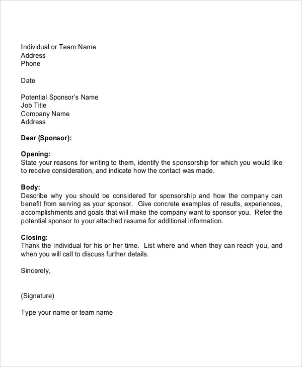 7+ Sports Sponsorship Letter Samples \u2013 PDF Sample Templates