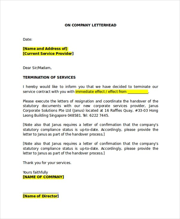 7+ Sample Service Termination Letters Sample Templates - company termination letter