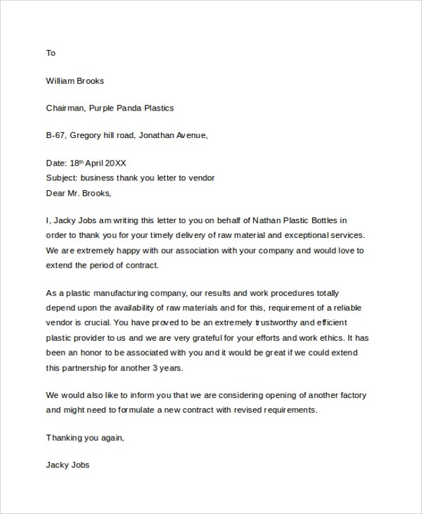 Sample Professional Thank You Letter - 7+ Documents in PDF, WORD - business thank you letters