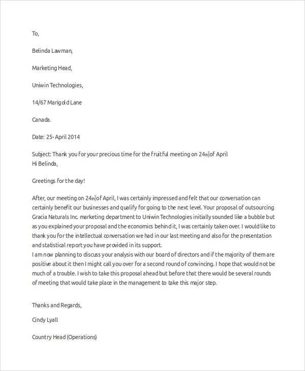 8+ Sample Professional Thank You Letters Sample Templates - professional thank you letters