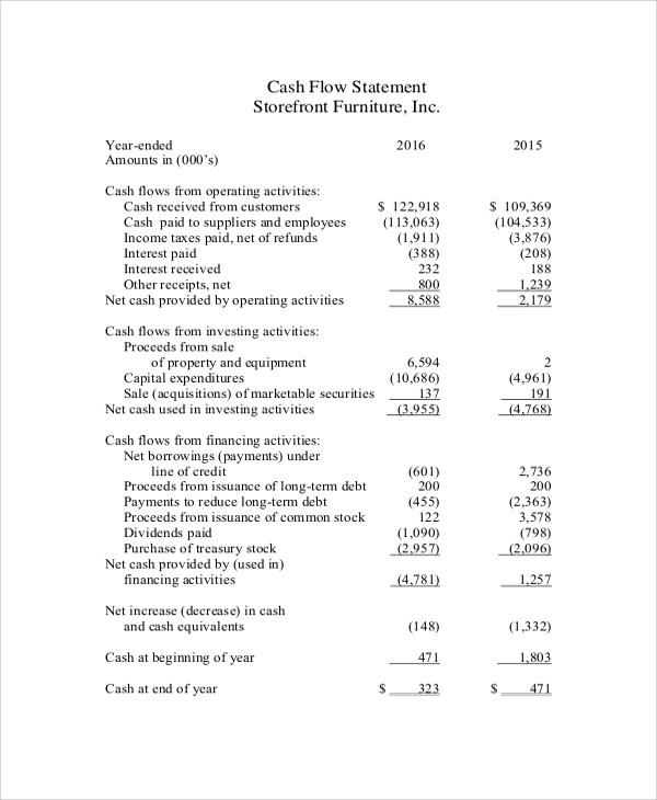 8+ Sample Cash Flow Statements \u2013 PDF, DOC Sample Templates