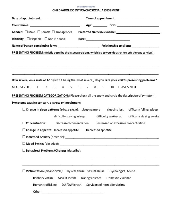 8+ Sample Psychosocial Assessment Forms Sample Templates - Biopsychosocial Assessment Template