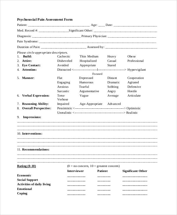 8+ Sample Psychosocial Assessment Forms Sample Templates - psychosocial assessment