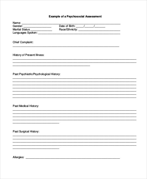 8+ Sample Psychosocial Assessment Forms Sample Templates - assessment form in pdf