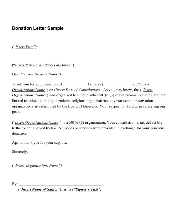 Sample Donation Receipt - 7+ Documents in PDF - donation receipt letter