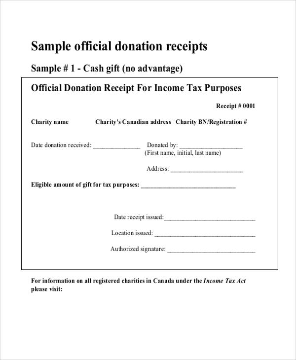 8+ Donation Receipt Samples Sample Templates