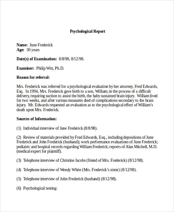 psychological report hitecauto - psychological report