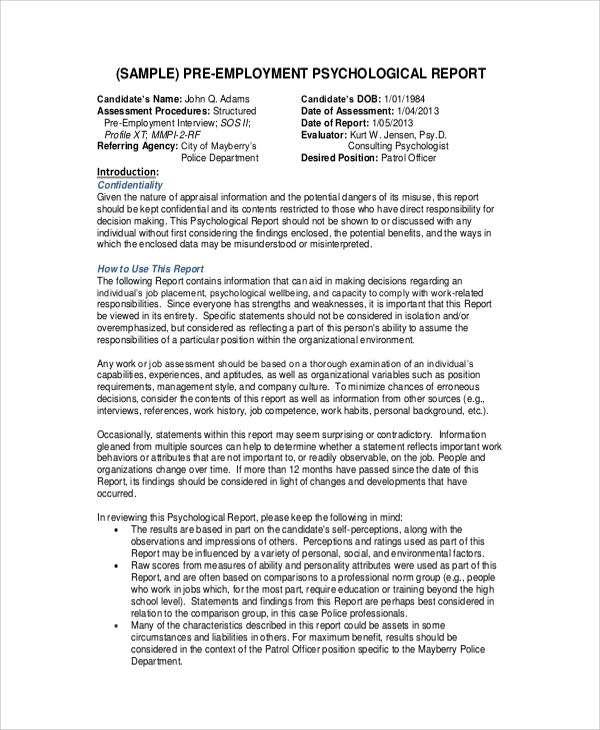 9+ Sample Psychological Reports \u2013 PDF, Word, Pages Sample Templates