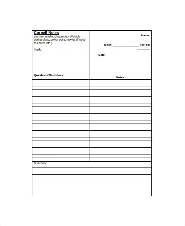 8+ Sample Cornell Notes Sample Templates - cornell notes paper