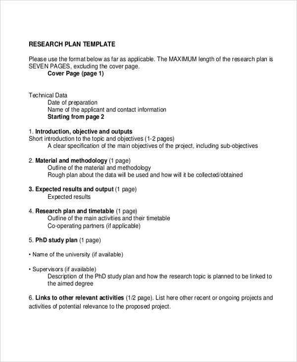 7+ Sample Research Plans Sample Templates