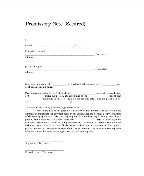 8+ Sample Promissory Notes Sample Templates