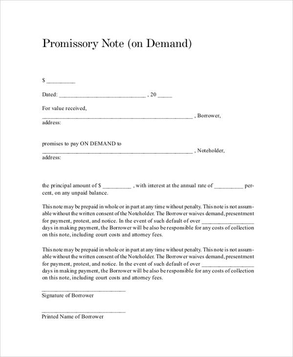 Demand Promissory Note Template - demand note template