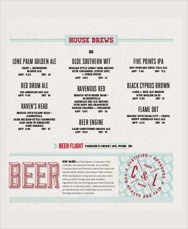... Wine Menu Template Sample Wine Menu Template Sample Beer Menu ...