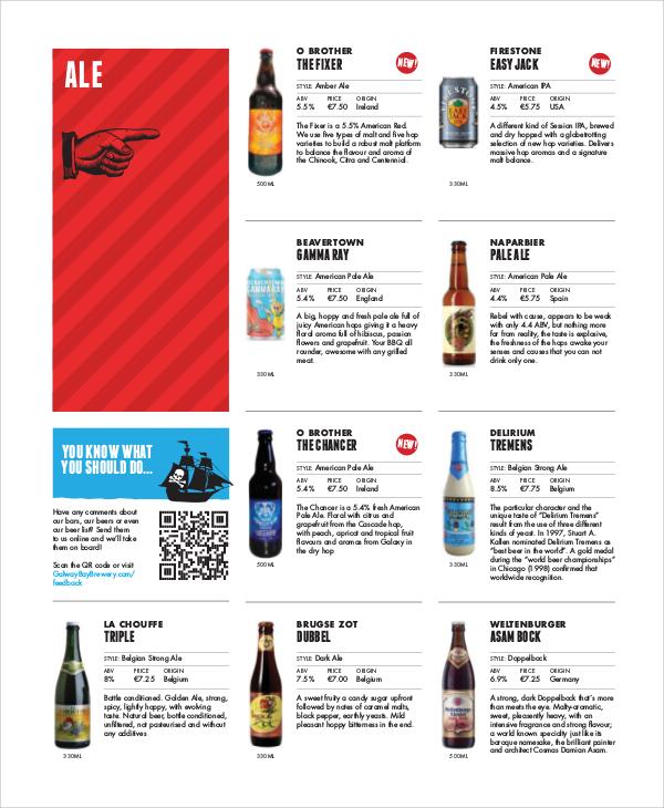 Sample Beer Menu - 7+ Documents in PDF - menu list sample