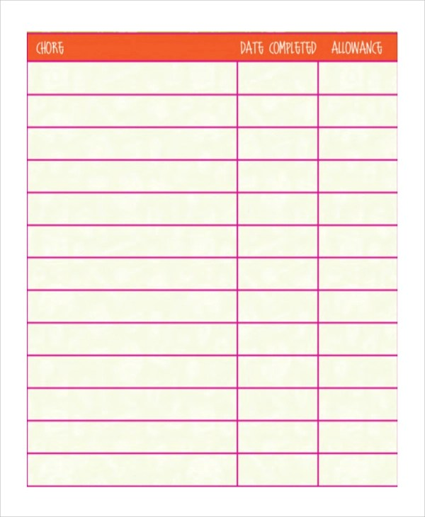 19+ Sample Chore Charts Sample Templates - sample chore chart
