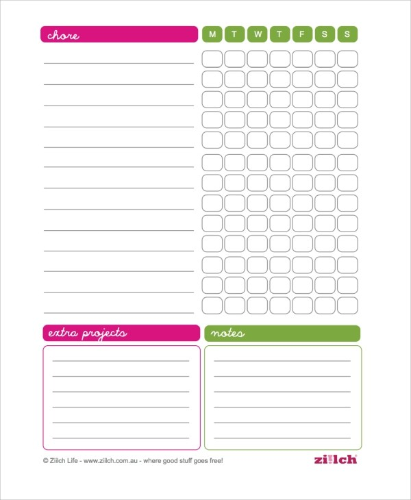 Sample Chore Chart - 18+ Documents in PDF, WORD, EXEL