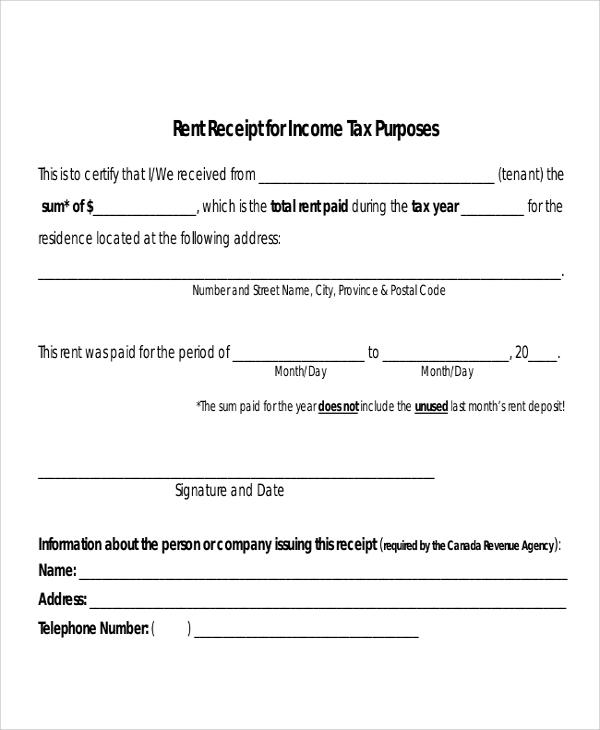Landlord Rent Receipt sample rent receipt form 10 free – Monthly Rent Receipt