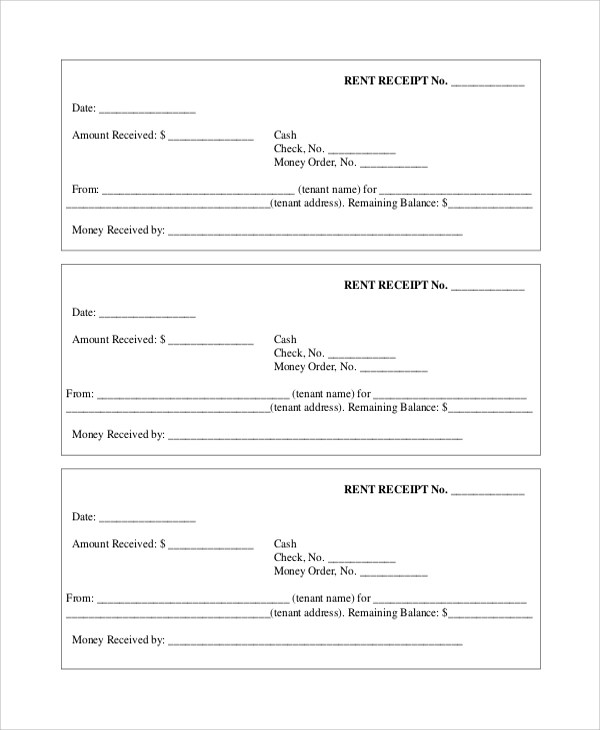 Sample Rent Receipt - 7+ Documents in PDF