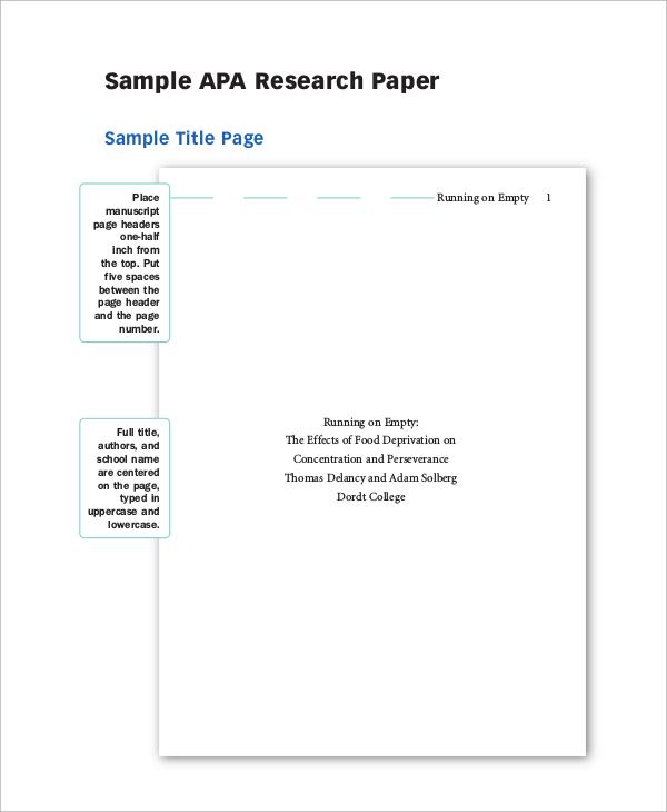 formatting a research paper apa