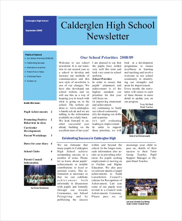 Sample School Newsletter - 7+ Documents in PDF, Word