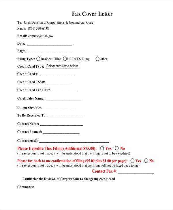generic fax form