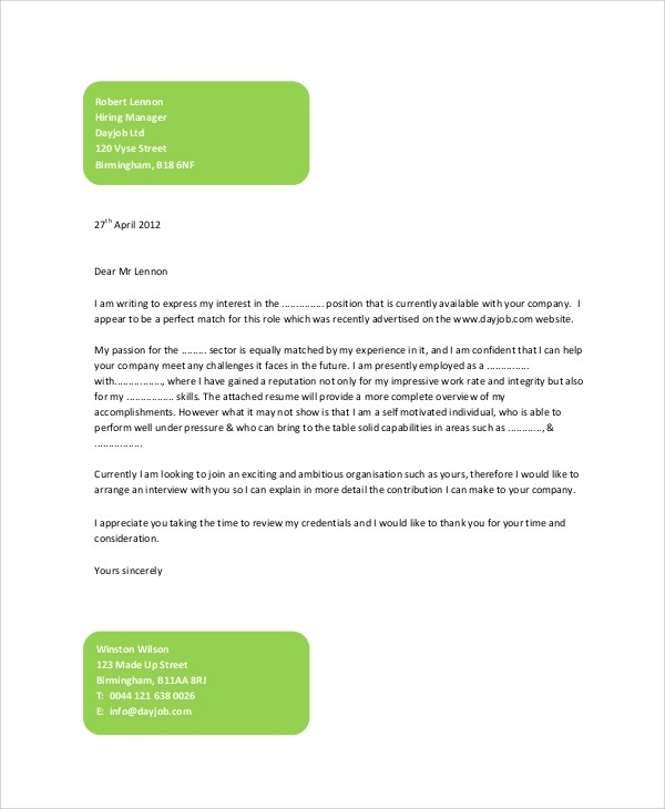 Sample Generic Cover Letter - 7+ Documents in PDF