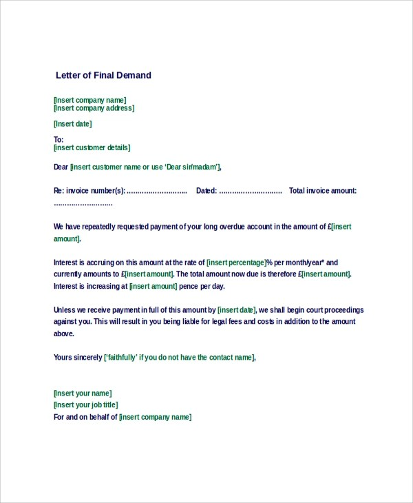 Letter of Demand Sample - 9+ Examples in Word, PDF - demand letter sample